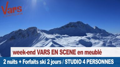 Week end Vars en Scène : studio ou appartement 4 personnes, 3 skieurs minimum